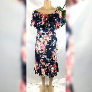 NWT Lularoe Velvet Cici Navy Floral Stretch Dress